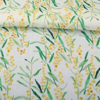 Льон білий, акварельні жовті квіточки, зелене листя, ш.140