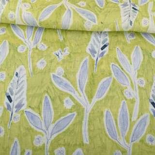 Льон салатовий, акварельні бузкові листочки, гілочки, ш.146