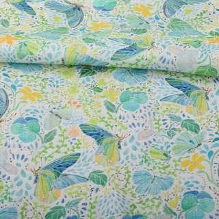 Льон білий, салатово-блакитні метелики, зелене листя, помаранчеві квіти, ш.140