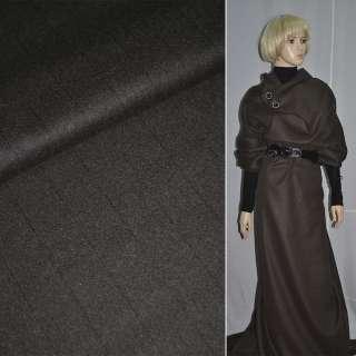Тканина пальтова темно-коричнева в вузькі чорні смуг, ш.148 см