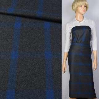 Шерсть BECKER пальтова сіра темна в синю клітку, ш.152