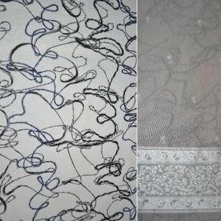 Ткань пальтовая молочная с нашитыми разноцветными нитями, ш.147