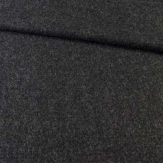 Ткань пальтовая черная с серыми штрихами, ш.151
