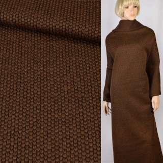 """Трикотаж пальтовий """"GERRY WEBER"""" коричневий велика в'язка, ш.155"""