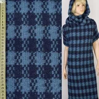 """Трикотаж пальтовий """"GERRY WEBER"""" синій в блакитну клітку, ш.145"""