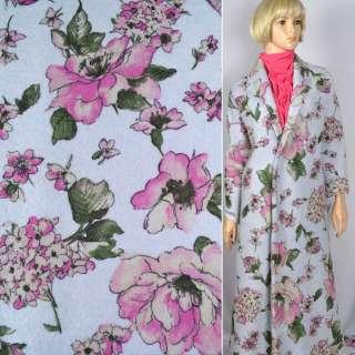"""Лоден """"Luna Cotta Drack"""" голубой с розовым цветочным принтом ш.140"""