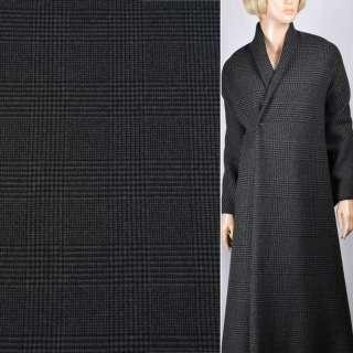 Кашемір пальтовий сірий в чорну клітинку, ш.155