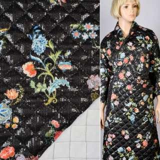 Коттон-атлас с пайетками черный в цветы стеганый с синтепоном, ш.139