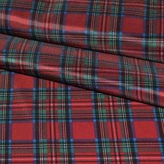 Ткань подклад. красная в зелено-голубую клетку ш.150