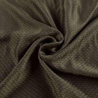 Вискоза подкладочная оливковая, жаккардовые треугольники, ш.145