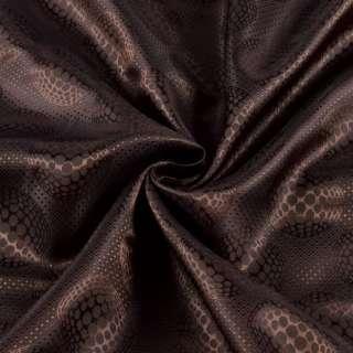 Вискоза подкладочная коричневая в узорчатые круги, ш.140