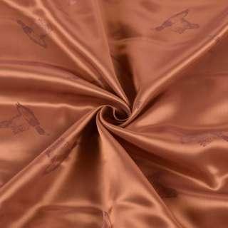 Вискоза подкладочная коричневая, дикие утки, ш.144