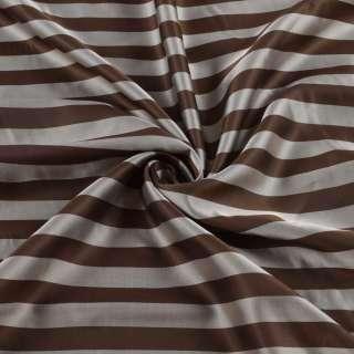 Вискоза подкладочная в коричнево-серую полоску, ш.142