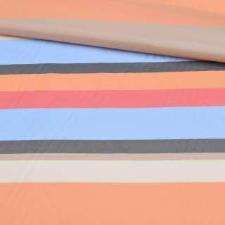 Вискоза подкладочная в голубую, красную, бежевую, оранжевую полоску, ш.141
