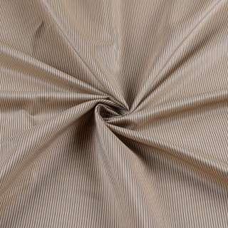Вискоза подкладочная бежевая в тонкую коричневую полоску, ш.140
