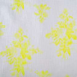 Рогожка хлопковая белая в яркие желтые цветы ш.148