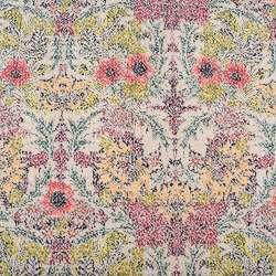 Рогожка хлопковая бежевая в терракотово-зеленые цветы ш.150