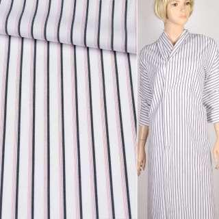 Коттон рубашечный белый в синюю и тройную красную полоску, ш.150