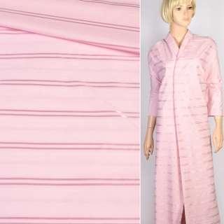 Коттон рубашечный розовый с атласной полоской, ш.145
