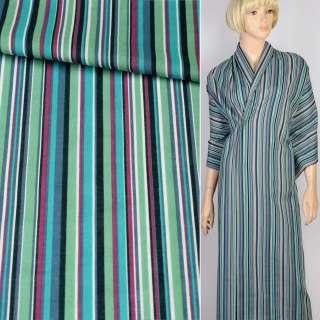 Батист в зеленую, бирюзовую, фиолетовую, черную полоску, ш.120
