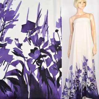 Креп молочный в фиолетовые цветы, купон односторонний, ш.148