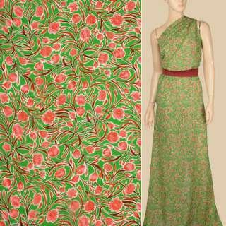 Креп-шифон віскозний зелений, рожеві квіти, гілки, ш.137