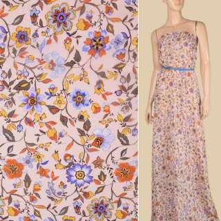 Креп-шифон віскозний рожевий, бузкові, помаранчеві квіти, ш.139