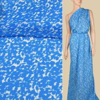 Креп-шифон віскозний білий в блакитні квіти, ш.134