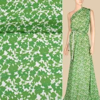Креп-шифон віскозний білий в зелені квіти, ш.135