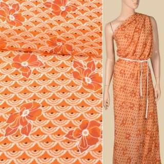 Креп-шифон віскозний помаранчевий, білі віяла, помаранчеві квіти, ш.136