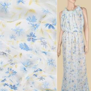 Креп-шифон віскозний білий в синьо-блакитні квіти, жовте пір'ячко, ш.134