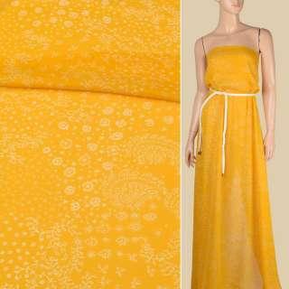 Креп-шифон віскозний жовто-гірчичний в дрібний білий візерунок, ш.136