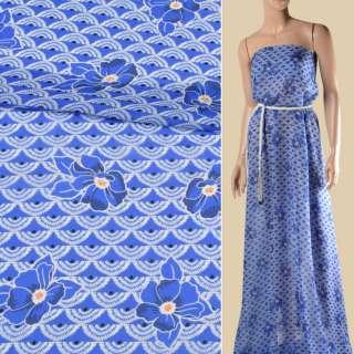Креп-шифон віскозний синій, білі віяла, сині квіти, ш.135