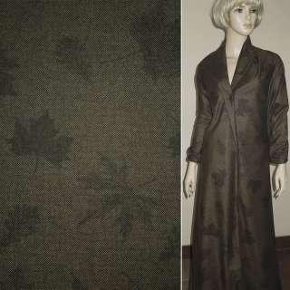 твид коричнево-черный с листьями ш.156
