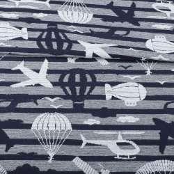 Джерси синее темное в серебристую полоску, самолеты, парашюты, ш.135