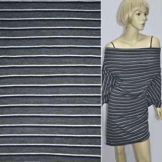 Трикотаж серый в фиолетово белые полоски ш.155