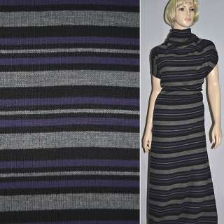 Трикотаж серый в черно фиолетовые полосы ш.150