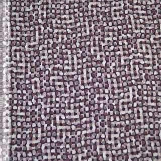 Трикотаж коричневий світлий в дрібні рожево-коричневі квадрати ш.140