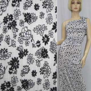 Трикотаж белый с черно-белыми цветами ш.150
