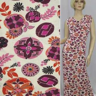 Трикотаж белый в розовые, оранжевые, бордовые цветы ш.140