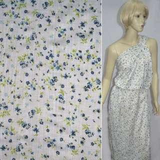 Трикотаж белый мелкий цветок жатый салатово синий ш.130