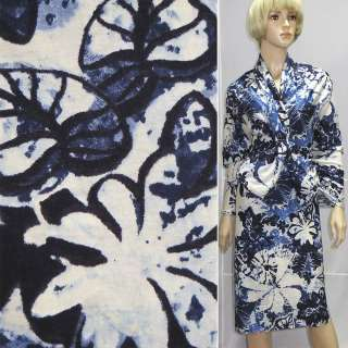 Трикотаж бело-голубой с темно-синими цветами, ш.160