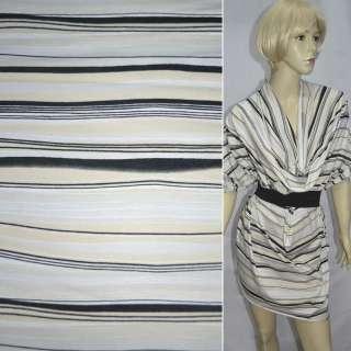 Трикотаж бледно-серый с бежево-черными полосками ш.150