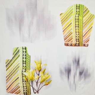 трикотаж белый с абстр.рис.и желтыми цветами