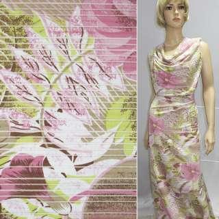 Трикотаж білий з коричнево-салатовим листям і рожевими квітками ш.130