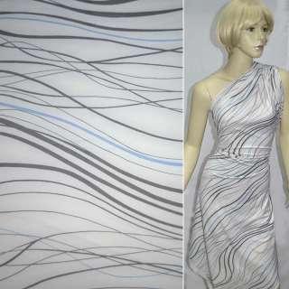 Трикотаж белый с серо-голубыми волнами ш.130