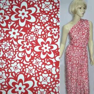 Трикотаж білий з червоними квітами ш.130