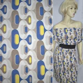 Трикотаж песочный с желто-синим светло-коричневым рисунком ш.120