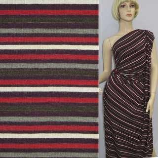 Трикотаж в смужку чорну, білу, червону, сіру ш.143