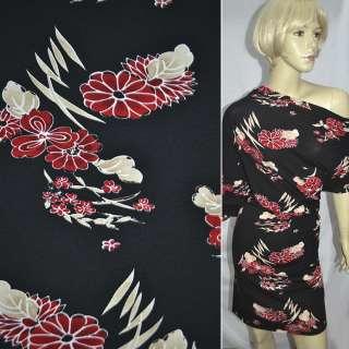Трикотаж с хлопком стрейч черный с красно-бежевыми цветами ш.140